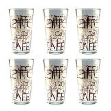6er Set Latte Macchiato Glas 39cl stapelbar Coffee Dekor - 1
